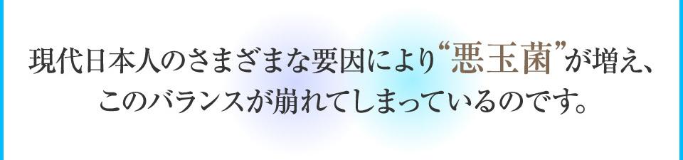 現代日本人のさまざまな要因により悪玉菌が増え、バランスが崩れてしまっているのです。